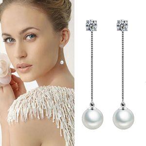 Drop Fashion Silver-color Simulated Pearl Pendant Long Chain Cubic Zirconia Long Earrings Bridal Wedding Pearl Jewelry Drop Earrings