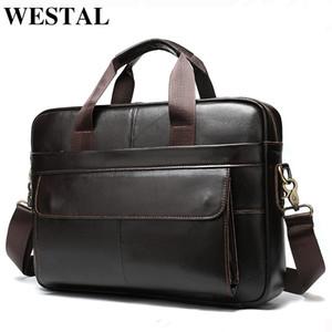 erkek deri laptop çantası iş çanta 1115 için Westal porte belge erkek evrak çantası çanta erkek hakiki deri ofis çanta