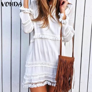 VONDA Femmes Sexy Robe à manches longues solide Tassel Party Mini robe 2019 Automne Casual vrac plage robes Plus Size Robes