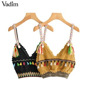Vadim mujeres sexy de punto patchwork con cuello en V crop top borla squine decorar vacaciones de verano estilo bohe blusas cortas blusas WA288