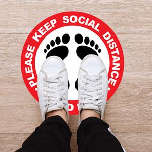 Sign Boden Aufkleber Boden Isoliert Etikett Halten Warten Sie hier Social Distanzierung Shop Floor Sign 30cm Anti Slip Aufenthalt-Safe-Aufkleber 5pcs LJJO7966