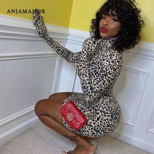 ANJAMANOR Cheetah Print Glove Long Sleeve Turtleneck Mini Bodycon Dress Autumn Winter Fashion Leopard Sexy Club Wear D66-AZ75 T200707