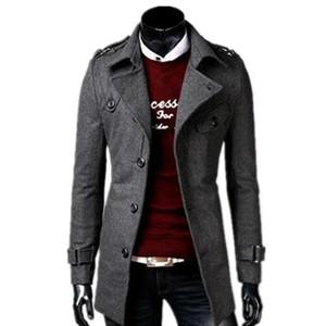 2018 automne / hiver la mode nouveau manteau trench simple boutonnage loisirs hommes / baissez col longue veste de laine pour homme