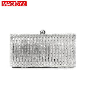 MAGICYZ 여성 이브닝 백 블랙 / 실버 웨딩 파티 가방 다이아몬드 라인 석 클러치 Crystal Bling 골드 클러치 백 동전 지갑