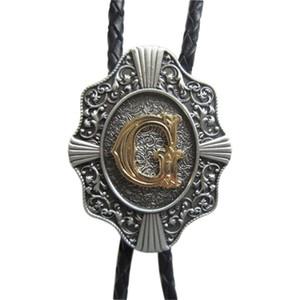 Западный галстук клипы Боло галстук для мужчин оригинальный письмо G Боло галстук косплей костюм кожаный ожерелье BOLOTIE-WT078G