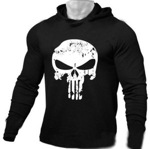 2019 hot new gym Long-sleeved men's hoodies, pure-color skull pattern, breathable and perspiration exercise elasticity trend