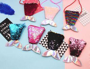 9 cores !! Mermaid Lantejoula Bling Bolsa para meninas Backpack pequeno Mini Coin Purse Messenger Bag Crossbody Satchel para crianças Meninas