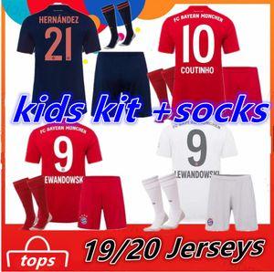 FC Bayern München 2019 2020 Kinder Trikot + Socken COUTINHO PERISIC LEWANDOWSKI Fußball Trikot Heim Auswärts dritte MULLER Kinder Trikots Uniform