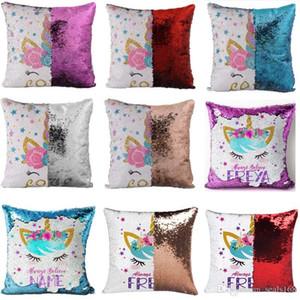 Geri dönüşümlü Çevir Unicorn Pullu Yastık Kılıfı Sihirli Mermaid PillowCover Dekoratif Atmak Yastık Kılıfı Noel Hediyeleri HH9-2360