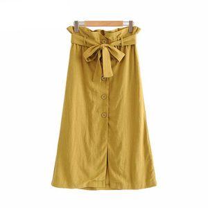 Femmes jupe midi jaune faldas mujer paperbag élastiques arc Attachez les ceintures ceinture poches femme jupes milieu du mollet occasionnel