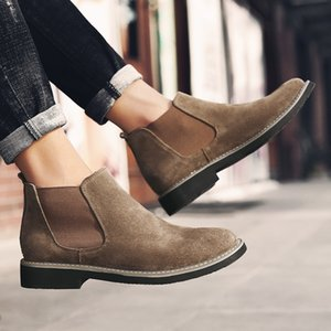 New Automne Early Winter Chaussures Homme Bottes Flock Casual en cuir pour homme Bottines en cuir Slip Male Plus Size