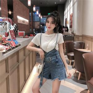 El algodón de la corto-manga de la camiseta + de Corea-Estilo Hipster correa dril de algodón del mono 2020 nueva manera del verano Traje