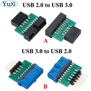 Cheap Computer Cables & Connectors YuXi 3.0 19 20 female to USB2.0 9 male adapter USB 3.0 19 20 to