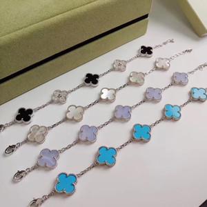 Joyería de plata Alhambra clásico del diseñador del S925 Cinco cerámica trébol de cuatro hojas flor encanto de la pulsera para las mujeres