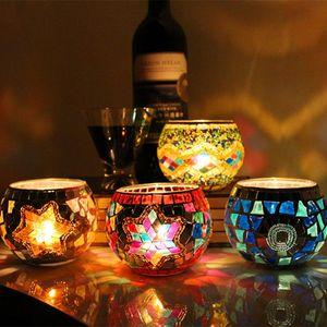 Los titulares del partido boda del sostenedor de mosaico de vidrio candelero de vela de cristal Prop boda de la barra de la vela Inicio regalos decoración linterna NAVIDAD GGA2951-1