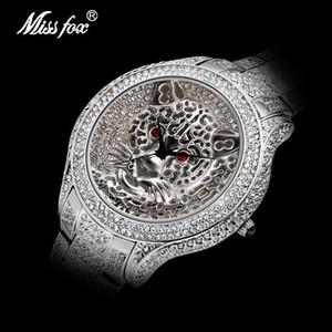 Dropshipping Montres Shopping en ligne MISSFOX montre en argent Vieux tigre Résistant à l'eau Full Diamond Watch Parfait