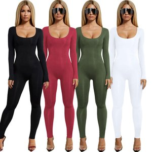 Siyah Yeşil Ordu Kadınlar Uzun Tulumlar 2020 Uzun Kollu Lady tulum Katı Renk Genel olarak Stok örme