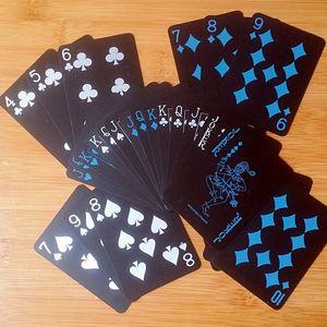 Noir Texas Holdem Classic Publicité Poker étanche PVC PVC Moulage durable Jeux de Jeux Jeux Magic Card 10 Set