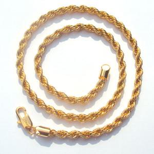 """""""و Xuping"""" عالية الجودة حبل سلسلة 6MM 14 ك الأصفر الجميلة الصلبة الذهب GF سميكة ملتوية مزين رجالي الهيب هوب 24 """"بوصة قلادة"""