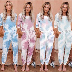 Tie Dye Printed Anzug Frauen Mädchen Pyjama Set Langarm-Tops Long Pants Pyjamas PJ-Sets Loungenachtwäsche 2 Stück Anzüge LJJA4090