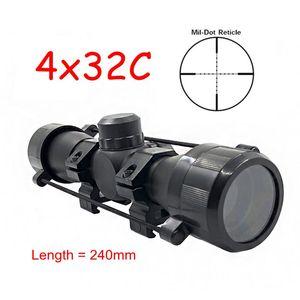 새로운 무료 배송 전술 4X32 공기 소총 광학 스나이퍼 범위 소형 Riflescopes 사냥 범위 20 미리 메터 / 11 미리 메터 레일 마운트