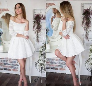 Sexy Off Shoulder 3  4 Sleeves Cheap A Line Short Homecoming Prom Dresses Lace Applique Mini Short Graduation Party Evening Dress