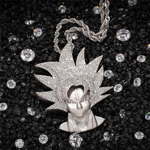 Saiyan Pendant Necklace For Men Bling AAA Cubic Zirconia Gold Plated Hiphop Jewelry Fashion Hip Hop Chains With Pendant