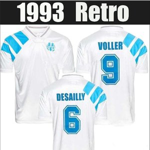 1993 Olympique Marseille Retro Conmemorate Football Shirt DESCHAMPS PAPIN BOLI DESAILLY 92 93 Jersey local VOLLER Marseille Camiseta de fútbol
