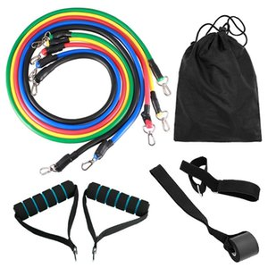 11pcs Fitness Resistance Bands Set Workout Exercise Tube Bands with Door Anchor Ankle Straps Cushioned Handles for Home Gym