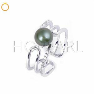 Achados de anel sem pérolas Solid Sterling Silver Zircons Anel de manguito Semi-acabado Montagens Pérola Acessórios para mulheres