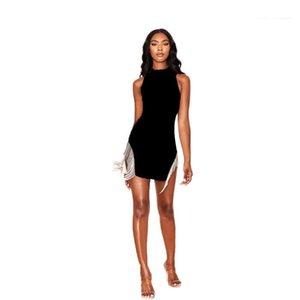 Fringed Sexy Quaste Nachtclub-Kleid mit Rundhalsausschnitt-Sleeveless Sommer-Tagesleuchtfarbe mit Reißverschluss-Kleid