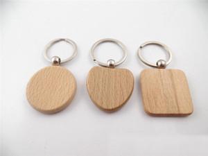 30pcs venda quente personalizar DIY em branco chaveiro de madeira Retângulo Coração da Ellipse Carving Key Anel de madeira Chaveiro Anel