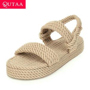 QUTAA 2020 nylon tessuto Zeppa signore sandali aperti estate pompa i pattini casuali della piattaforma Slingback Women Size 34-43