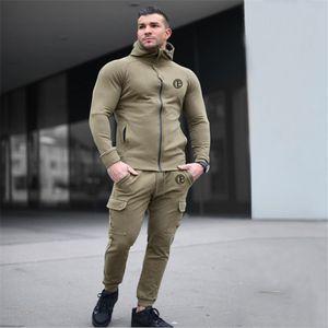 Men Running Sportswear Suits Sweatshirt Sweatpants Gym Fitness Training Hoodies and Pants 2pcs Sets Male Jogging Tracksuit Coats
