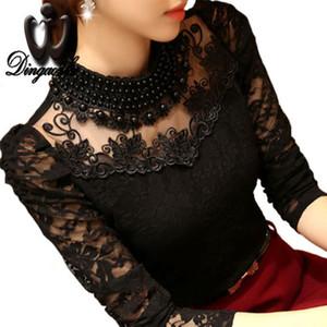 Dingaozlz 5XL Sexy Lace Tops 2018 blusas novo tamanho rendas blusa Magro Além disso camisa de manga longa Casual frisado openwork Mulheres