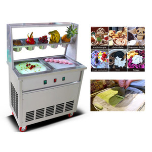 2020 new 2 pot 5 bowl ice cream roll machine with thaw function commercial fried ice cream machine yogurt ice cream machine