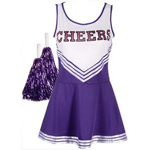 das mulheres Cheerleader Dress Com Uniforme Poms Partido Musical School Girls Pom Halloween do líder do elogio Máscara Sports