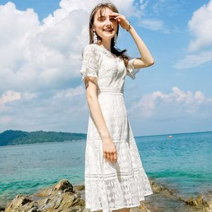summer new brand women's temperament V-neck solid color a-line skirt chic lace lady dress