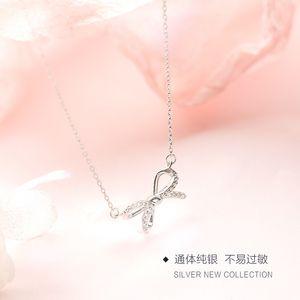 925 Sterling Silver doce colar de arco das mulheres coreano-Style Choker simples fresco Estudantes Girlfriends Mori-Style Pendant
