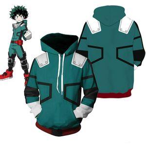 Costume Acquista My Hero Academia Boku Izuku Midoriya Costumi Cosplay Anime Deku Battle Green Hooded Jacket Felpa con cappuccio
