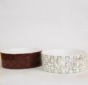 Classique motifs géométriques en céramique écuelle pour chien chien chat d'alimentation bol d'eau plat Feeder ronde pique-nique Voyage Cat Dog Pet Supplies