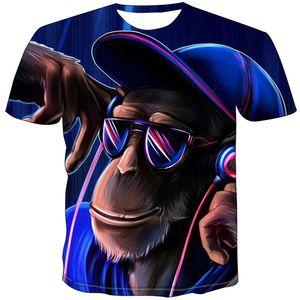 Orangutan t shirt DJ monkey short sleeve tops Cool music play tee Colorfast print gown Unisex all size clothing Quality tshirt