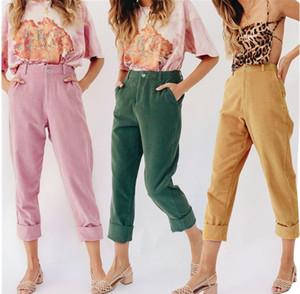 Casuales de la moda de las mujeres Harem pantalones de pana mujeres sueltan los pantalones de la pierna ancha de largo pantalones de pana suave Joggers