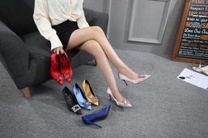 6cm 8cm 10cm 높이 결혼식 신발 신부 들러리 신발 평면 실크 새틴 다이아몬드 라인 석 평방 버튼을 뾰족한 힐 스틸
