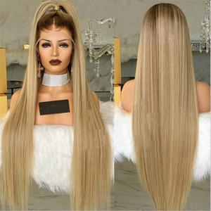 HOT long avant de dentelle synthétique droite perruque blonde simulation humaine cheveux doux lacefront Perruques de haute qualité