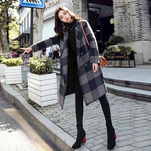 Nuevo abrigo de lana a cuadros de estilo inglés para mujer Otoño e invierno 2019 Cuello vuelto de moda Mezclas de lana a cuadros sueltos Ropa de abrigo