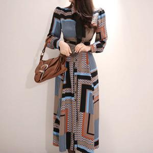 2020 trabajo de la manera mujeres del estilo cómodo de gasa de impresión largos Una línea de vestido Nueva llegada temperamento elegante de la fiesta de la playa vestido JH01