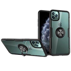 Lusso Defender in fibra di carbonio dell'anello di barretta dell'armatura della staffa di caso per l'iPhone 7 8 Inoltre XR 11 Pro XS Max Samsung S10 Nota 10