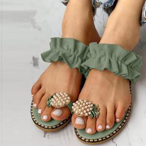Pantoufles Femmes Summer Plat Beach Filles Perles Chaussures Femme Bohemian Style Sandales occasionnelles Drop 20