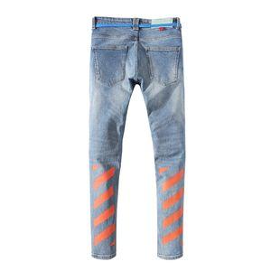 2019 Mens Distintivo Rips elasticizzato nero jeans dello stilista di misura sottile lavato Moto denim pantaloni a pannelli Hip Hop Trousersv4
